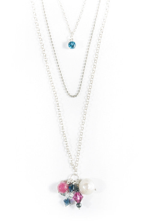 HIMALAYA - London Topaz Layered Silver Necklace -  Jitterbug Jewellery