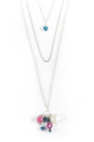 Layered Silver Necklace Wtih London Topaz