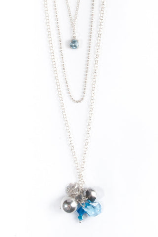 Layered Silver Necklace With Blue Topaz