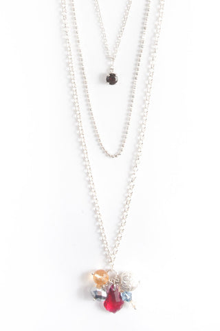 Garnet Layered Silver Necklace