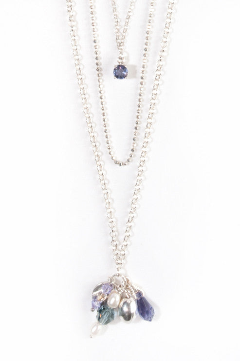 JACARANDA -  layered sterling silver necklace with gemstones and Swarovski crystals