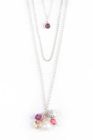 Layered Silver Necklace With Pink Rhodolite