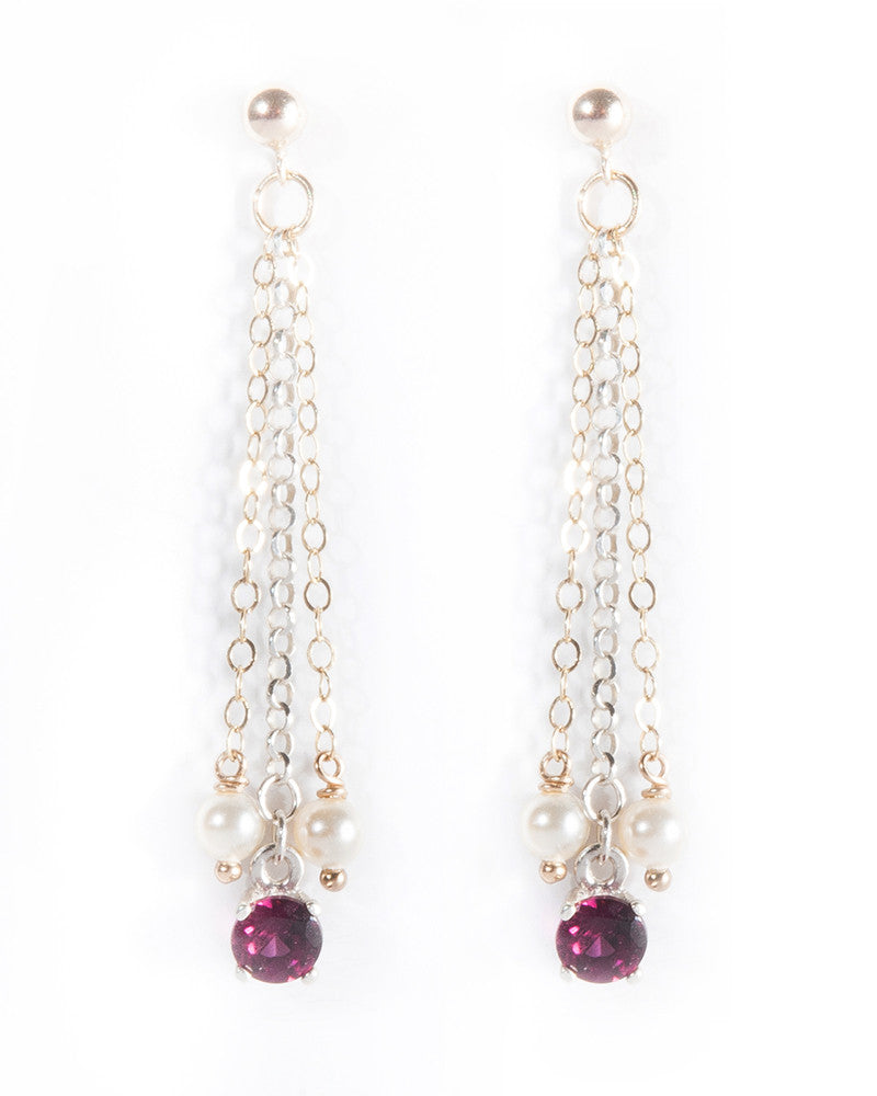 Unique multi-strand Rhodolite gemstone earrings in 9ct gold and sterling silver