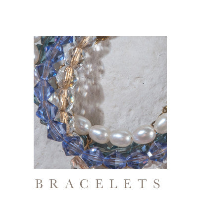 Unique multi-strand bracelet with Swarovski crystals & semi precious stones with 18ct gold plated brass clasp