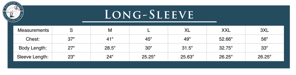 Long-Sleeve Sizing Guide - Bayview Prep® Coastal Clothing Co.