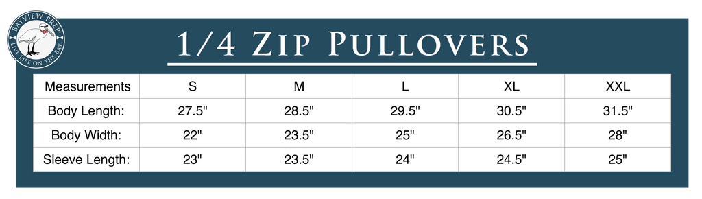 Quarter Zip Sizing Guide - Bayview Prep® Coastal Clothing Company