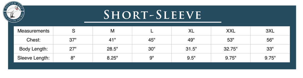 Short-Sleeve Tee Shirt Sizing Guide from Bayview Prep®
