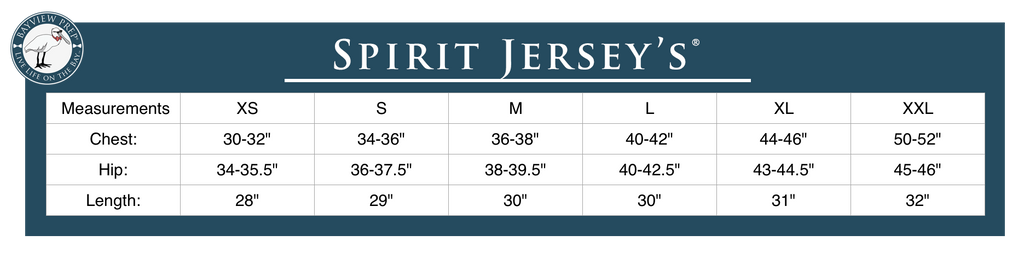Spirit Jersey Sizing - Bayview Coastal Clothing Co.