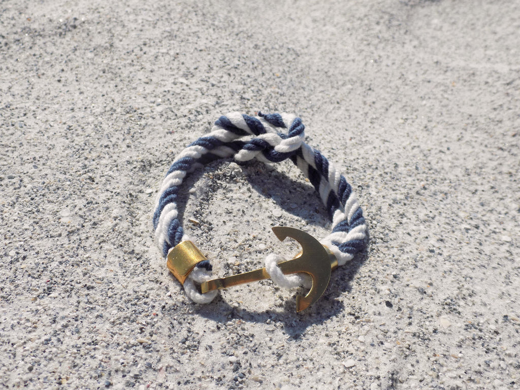 Navy and White Nautical Rope Bracelet - Bayview Prep