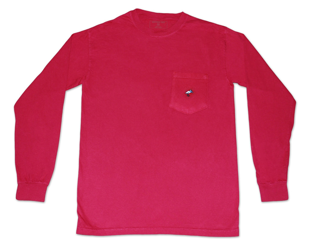 Long Sleeve Pocket Tee - Nautical Red - Bayview Prep