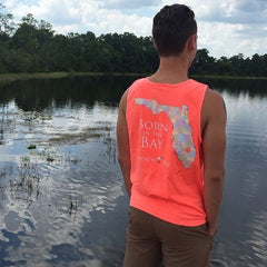 Born In The Bay Tank In Neon Red Orange