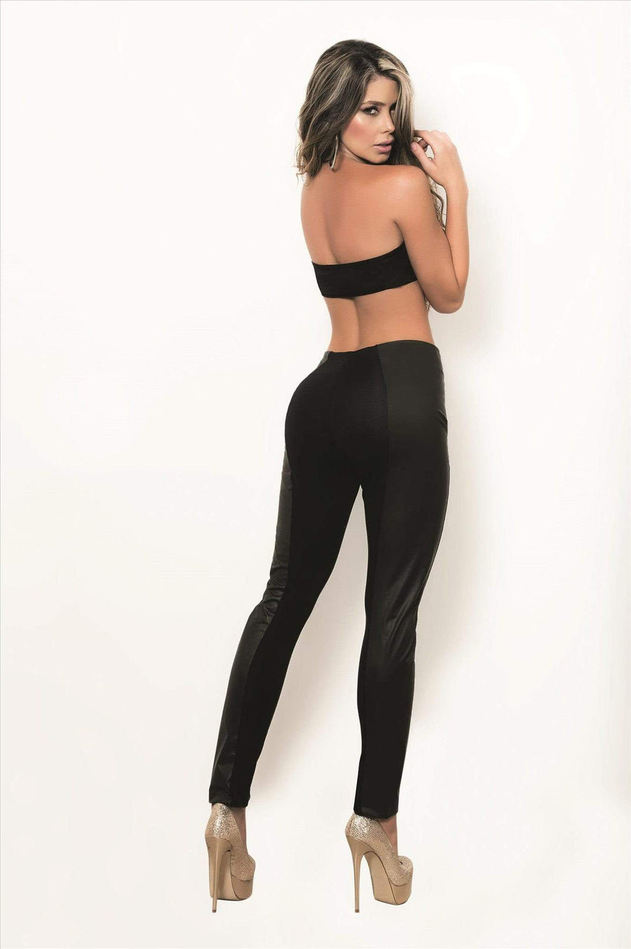 AMPM Large / Black Black Leggings featuring a Gold Accent Zippers AMPM-1828-L Apparel & Accessories > Clothing > Pants