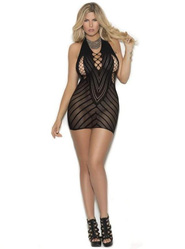 Elegant Moments Black Extreme Sheer Crochet Halter Mini Dress Black Extreme Sheer Opaque Extreme Micro Net Mini Club Party Dress Apparel & Accessories > Clothing > Dresses