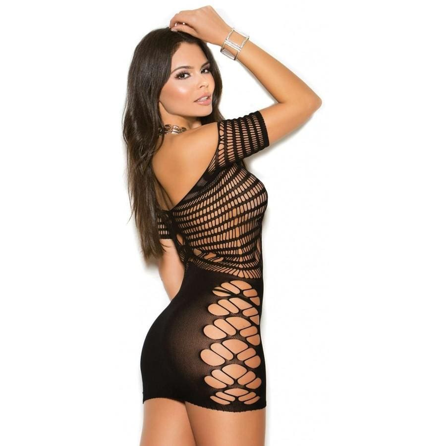 Elegant Moments Black / One Size Black Off Shoulder Knit Crochet Fishnet Mini Dress SHC-1104-EM Black Off Mesh Sheer Opaque Crochet Mini Dress | Elegant Moments 1104 Apparel & Accessories > Clothing > Dresses