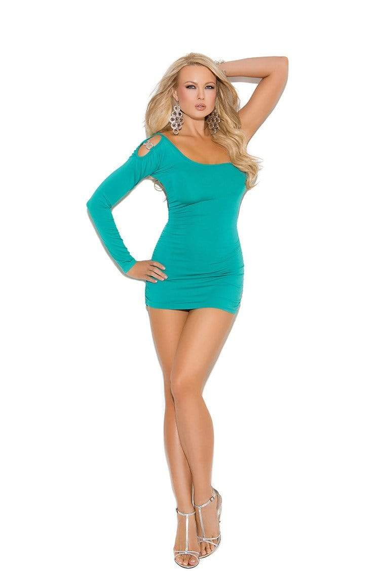 Elegant Moments Elegant Turquoise One Shoulder Style Mini Dress with Jewel Accent Elegant Moments 8293 Elegant Turquoise One Shoulder Style Mini Dress with Jewel Accent Apparel & Accessories > Clothing > Dresses