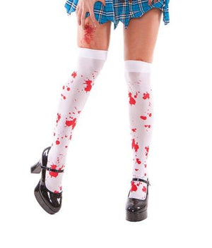 Elegant Moments White / One Size White Zombie Thigh High Blood Splatter Stockings Costume SHC-1872-EM Apparel & Accessories > Clothing > Pants