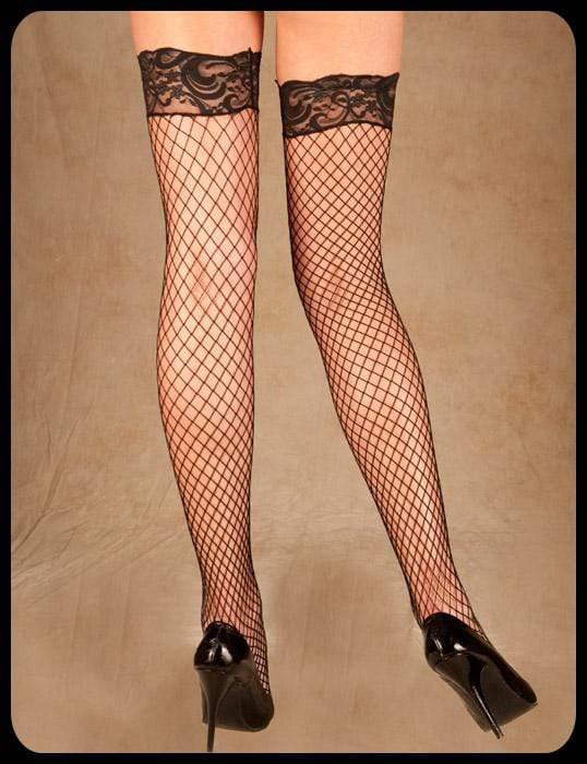 Elegant Moments Black / One Size Black Fence Fish Net Silicone Lace Top Thigh High Stockings SHC-1757-EM Apparel & Accessories > Clothing > Underwear & Socks > Lingerie