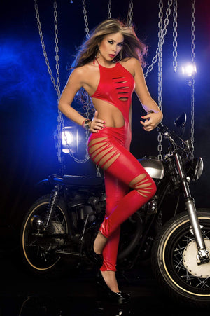 espiral Red / Small Sensual Shreds Catsuit featuring an Open Side Hourglass Bodice (In Black, Red, Neon Green) ESP-2248-RED-S Apparel & Accessories > Clothing > One Pieces > Jumpsuits & Rompers