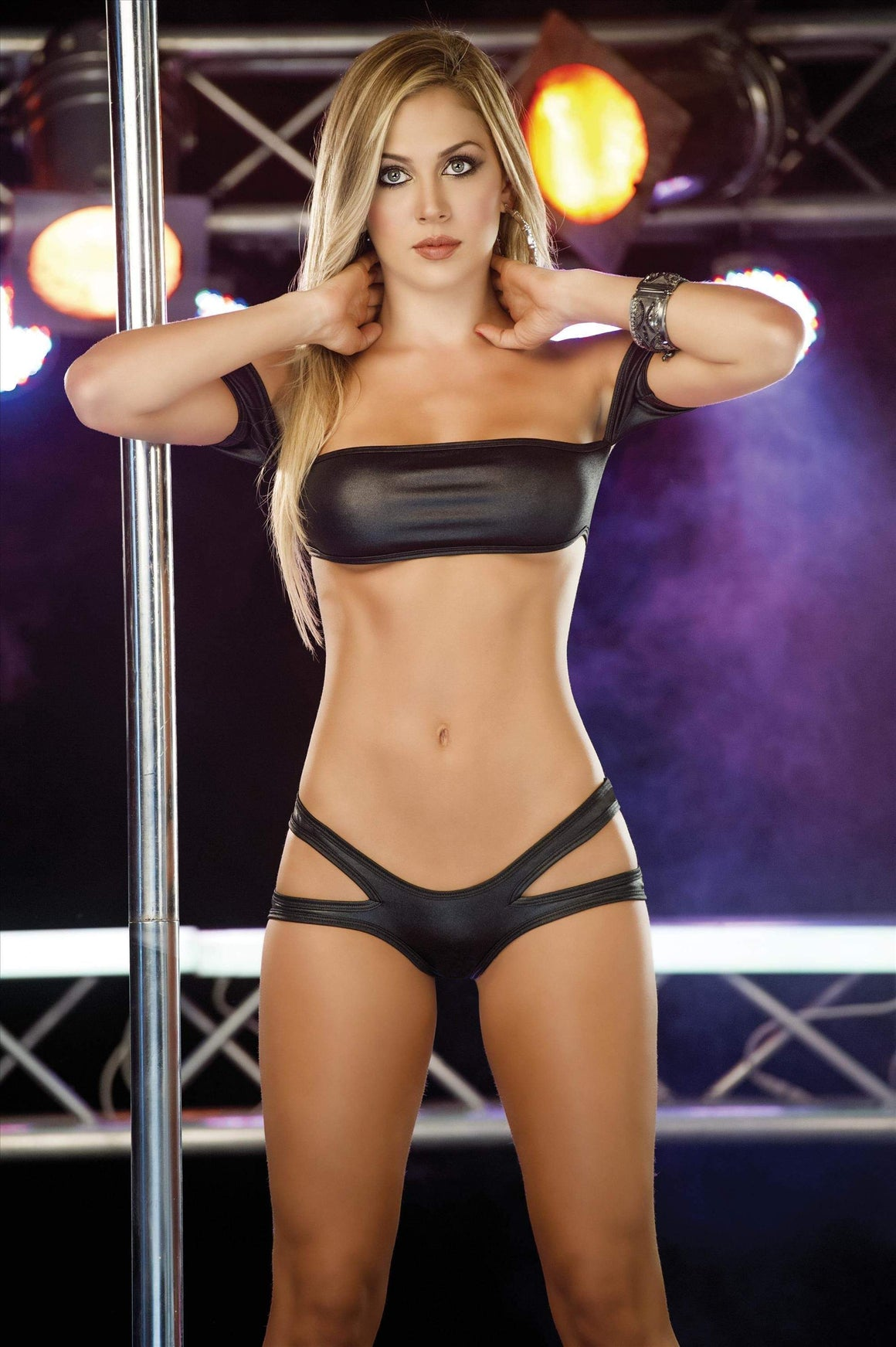espiral Black Bandeau Top & Cheeky Cut-Out Side Bottom Set Dance Wear (Also in White) Black Bandeau Top & Cheeky Cut-Out Side Bottom Set Dance Wear (Also in White) Apparel & Accessories > Clothing > Underwear & Socks > Lingerie
