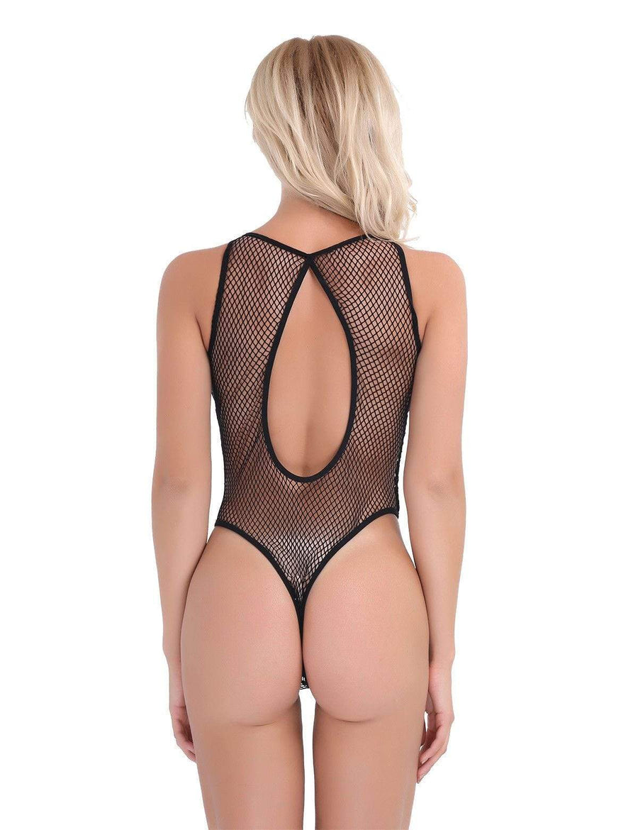 espiral Black / One Size Black Fish Net Keyhole Front Open Back Thong Teddy Bodysuit Lingerie SHC-3072-EB Apparel & Accessories > Clothing > Underwear & Socks > Lingerie
