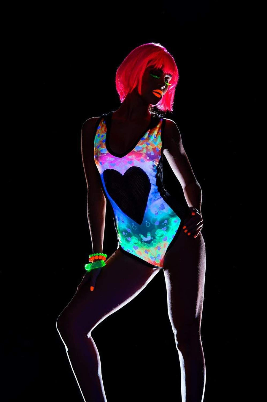 espiral Glow in the Dark Sheer Heart Cut Out Bodysuit Glow in the Dark Sheer Heart Cut Out Bodysuit Mapale 2477 Apparel & Accessories > Clothing > Underwear & Socks > Lingerie