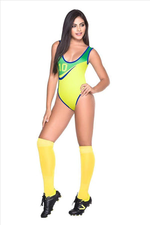 espiral World Cup Soccer Brazil Team Sports Bodysuit Costume Apparel & Accessories > Clothing > Underwear & Socks > Lingerie