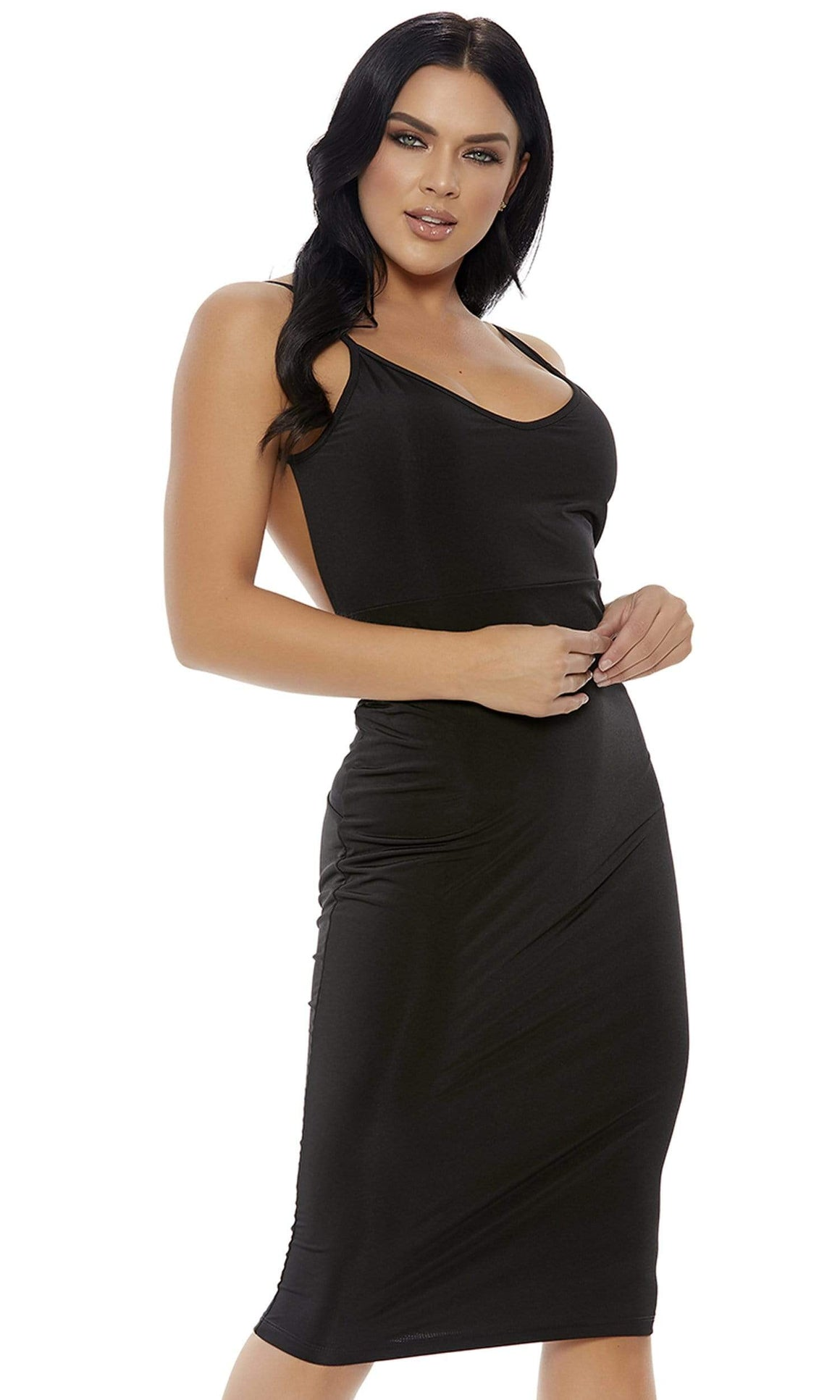 Forplay Small / Black Black Knot Into It Midi Dress SHC-886800-S-FP Apparel & Accessories > Clothing > Dresses