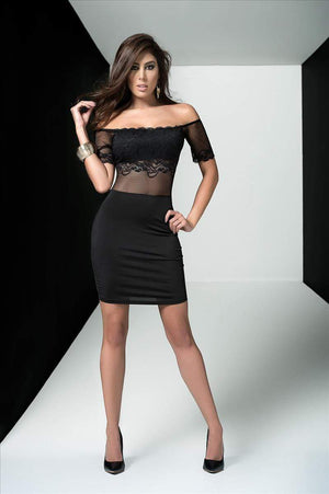 mapale Black / Medium Black Off The Shoulder Sheer Lace Mesh Dress SHC-4497-BLACK-M-MA Black Off The Shoulder Sheer Lace Mesh Dress | MAPALE 4436 | Apparel & Accessories > Clothing > Dresses
