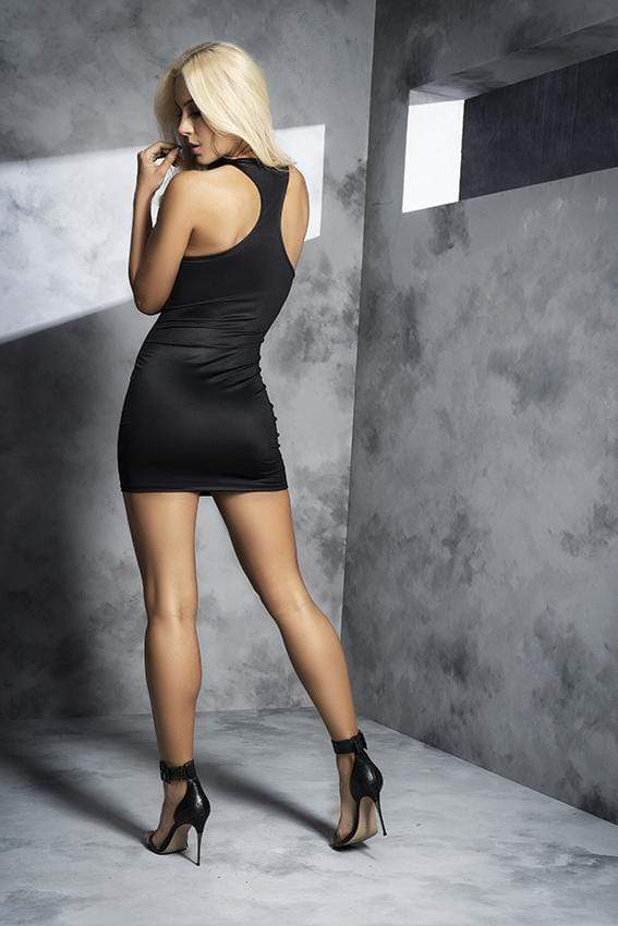 mapale Small / Black Black Mini Dress with Zipper Front SHC-4543-S-MA 2021 Black Mini Dress with Zipper Front | MAPALE 4545 Apparel & Accessories > Clothing > Dresses