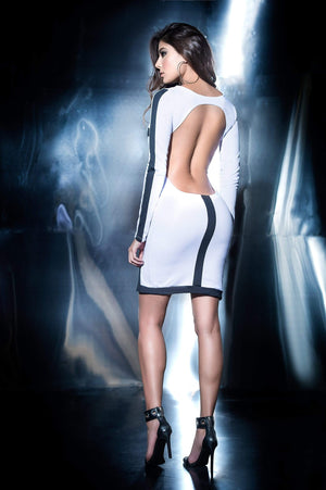 mapale Black & White Round Plunge Mini Dress w/ Scoop Open Back Apparel & Accessories > Clothing > Dresses