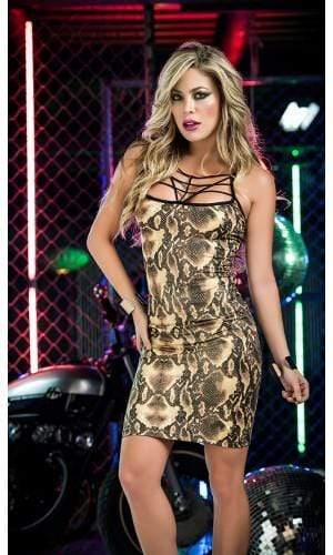 mapale Large / Brown Exotic & Sexy Brown Snakeskin Mini Dress (Pink also available) MAP-4384-L-1 Exotic Sexy Brown Snakeskin Mini Dress Pink Mapale 4384 | SHOP NOW |  Apparel & Accessories > Clothing > Dresses