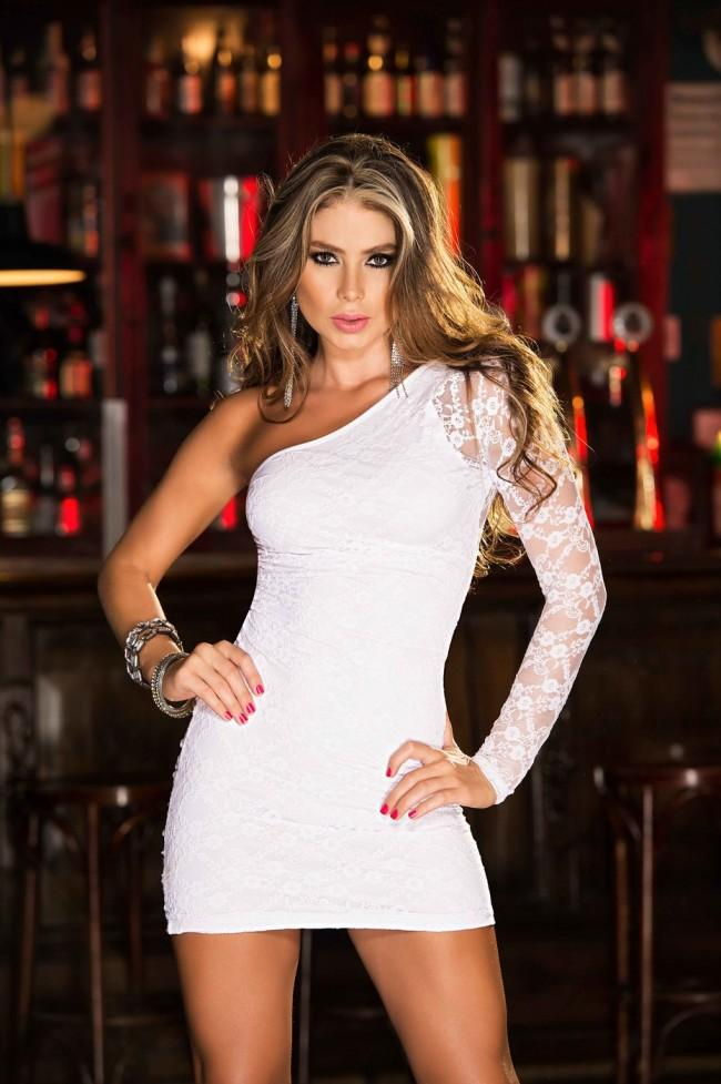 mapale Large / White Long Sleeve Lace One Shoulder Mini Dress MAP-4248-L-1 Long Sleeve Lace One Shoulder Mini Dress Mapale 4248 | SHOP NOW |  Apparel & Accessories > Clothing > Dresses