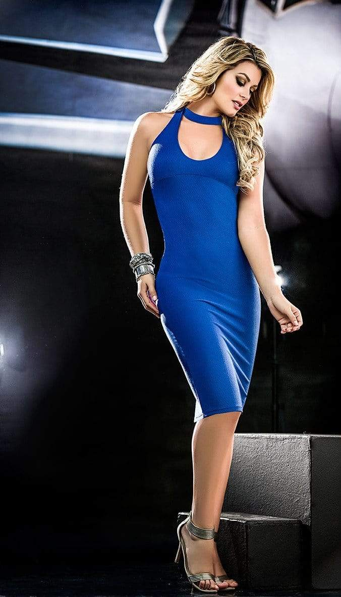 mapale Medium / Blue Royal Blue Plunge Open Strappy Back Midi Dress MAP-4392-M Apparel & Accessories > Clothing > Dresses