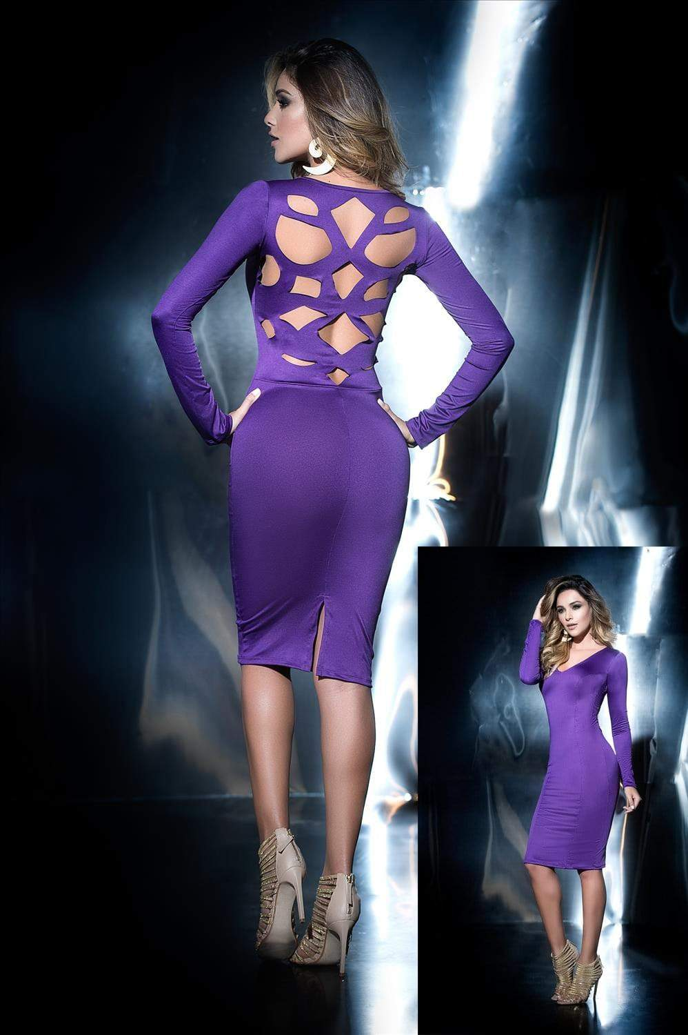 mapale Purple Dress w/ Cut Out Back Design Purple Dress w/ Cut Out Back Design Mapale 4446 | SHOP NOW |  Apparel & Accessories > Clothing > Dresses