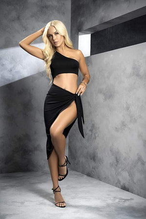 mapale S/M / Black Black Open Shoulder Top with Skirt Tie-In SHC-4549-SM-MA 2021 Black Open Shoulder Top with Skirt Tie-In | MAPALE 4549 Apparel & Accessories > Clothing > Dresses