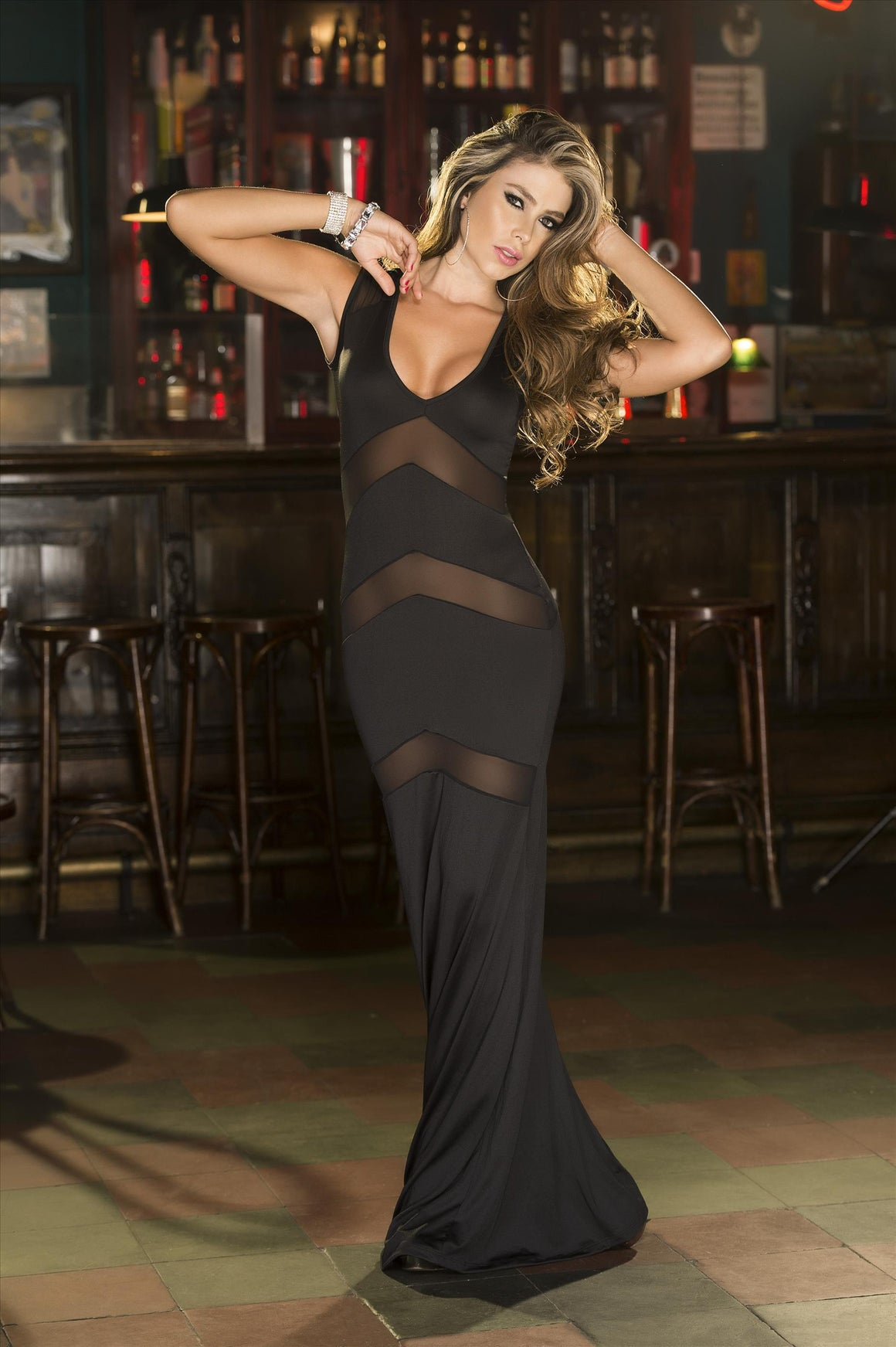 mapale Small / Black Black Long Gown w/ Sheer Panel Inserts MAP-4282-S Black Long Gown w/ Sheer Panel Inserts Mapale 4282 | SHOP NOW |  Apparel & Accessories > Clothing > Dresses