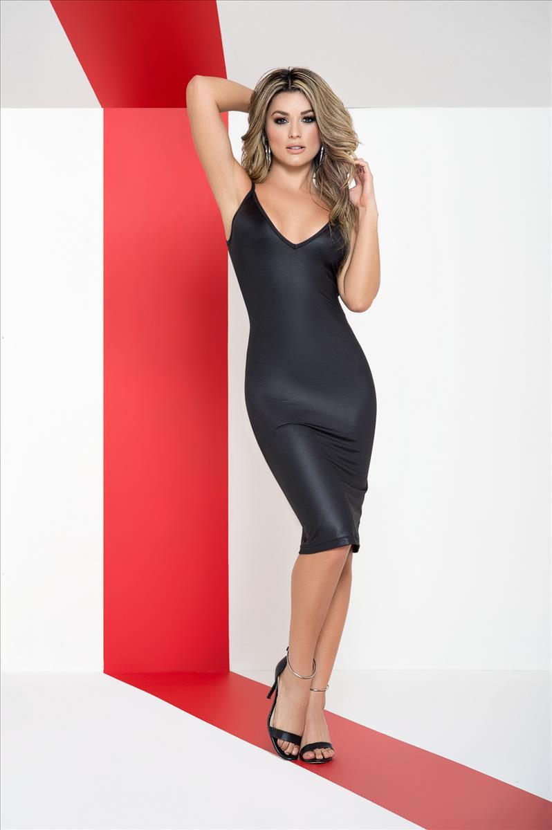mapale Small / Black Black Wet Look V Neck Zipper Back Club Party Cocktail Slip Dress MAP-4488-S Apparel & Accessories > Clothing > Dresses