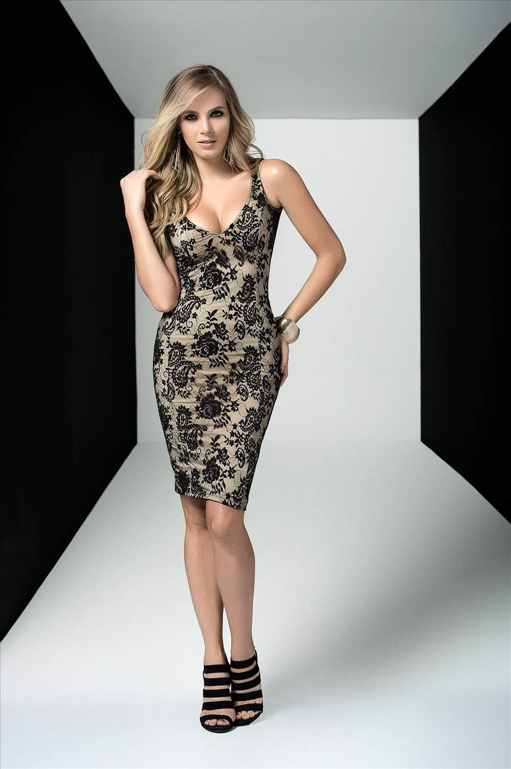 mapale Small / Black Red Floral Lace Overlay Midi Dress w/ Flesh Toned Under Dress (Black also available) AMPM-4434-S-BLACK Apparel & Accessories > Clothing > Dresses