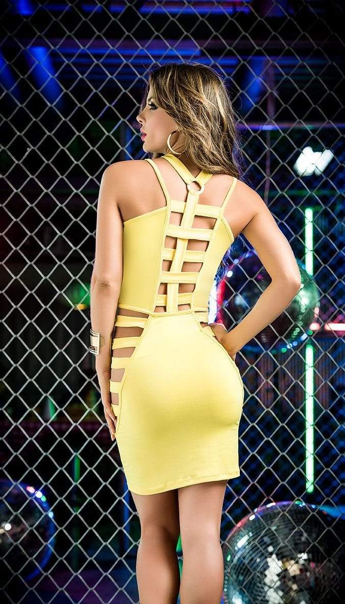 mapale Yellow Strappy Halter Style Cut-Out Mini Dress Strappy Yellow Halter Style Cut-Out Mini Dress Apparel & Accessories > Clothing > Dresses