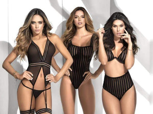 mapale Black Striped Mesh & Sheer Lace Bodysuit Apparel & Accessories > Clothing > One Pieces > Jumpsuits & Rompers