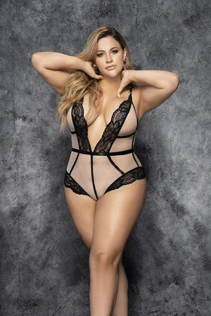 mapale Nude Mesh w/ Black Lace Trim Plus Size Teddy Apparel & Accessories > Clothing > One Pieces > Jumpsuits & Rompers