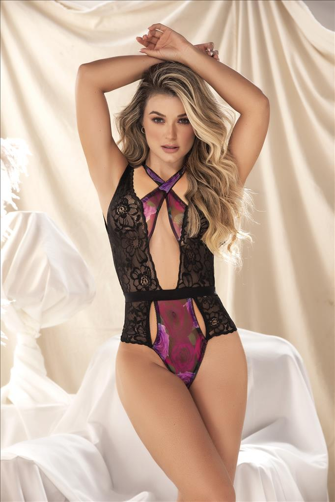 mapale Print / S/M Floral Print w/ Lace Floral Cuts & Back Metal Z-hook Teddy SHC-8535-S/L-MA Floral Print w/ Lace Floral Cuts Back Metal Z-hook Teddy | MAPALE 8535 Apparel & Accessories > Clothing > One Pieces > Jumpsuits & Rompers