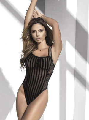 mapale Small / Black Black Striped Mesh & Sheer Lace Bodysuit SHC-7243-S-MA Apparel & Accessories > Clothing > One Pieces > Jumpsuits & Rompers