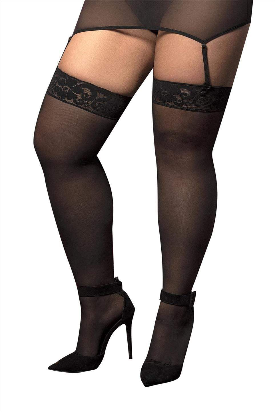 mapale Black / One Size Black Mesh Thigh Highs One Size Plus (Red also available) SHC-1094X-OS-BLK-MA Black Mesh Thigh Highs One Size Plus (Red also available)  | MAPALE 1094X Apparel & Accessories > Clothing > Pants