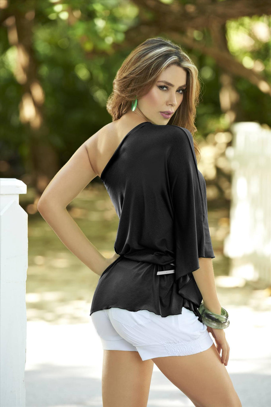 mapale Black / Small Mapale One-Shoulder Asymmetrical Drape Top Shirt with Belt SHC-9782-BLK-S-MA Apparel & Accessories > Clothing > Shirts & Tops