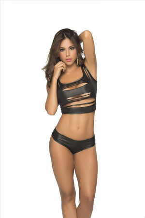 mapale Wet Black / M/L Sexy Wet Black Shredded Top (Many Colors Available) SHC-9025-WETBLK-ML-MA Apparel & Accessories > Clothing > Shirts & Tops