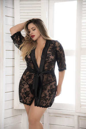 mapale Black / 1X/2X Black Short Lace Robe w/ Satin Collar & Belt (White & Red also available) SHC-7115X-BLK-1X/2X-MA Black Short Lace Robe w/ Satin Collar & Belt|Mapale 7115X|SHOP NOW Apparel & Accessories > Clothing > Sleepwear & Loungewear > Robes