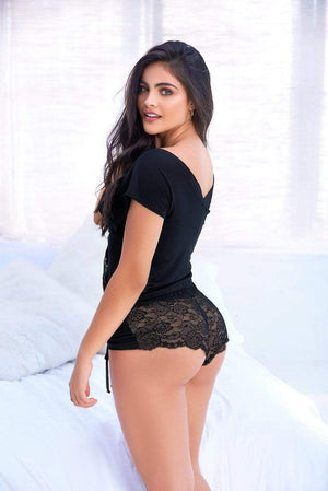 mapale Black Loose-fit Cotton Top w/ Lace & Cheeky Bottom Set Black Loose-fit Cotton Top w/ Lace & Cheeky Bottom Set | MAPALE 7317 Apparel & Accessories > Clothing > Sleepwear & Loungewear > Robes