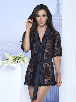 mapale Black / MEDIUM Sexy White Sheer Lace with Satin Trim Short Robe (Available in Black and Red also) SHC-7115-BLK-M-MA Sexy White Sheer Lace with Satin Trim Short Robe (Available in Black and Red also) Apparel & Accessories > Clothing > Sleepwear & Loungewear > Robes