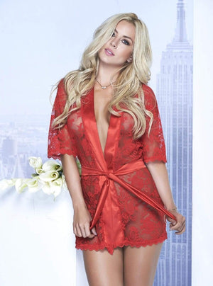 mapale Red / MEDIUM Sexy White Sheer Lace with Satin Trim Short Robe (Available in Black and Red also) SHC-7115-RED-M-MA Sexy White Sheer Lace with Satin Trim Short Robe (Available in Black and Red also) Apparel & Accessories > Clothing > Sleepwear & Loungewear > Robes